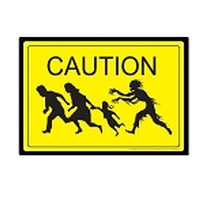 Click to get Caution Zombies Tin Sign
